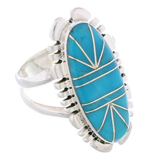 Sterling Silver Turquoise Southwestern Inlay Ring Size 6-1/4 TX28507