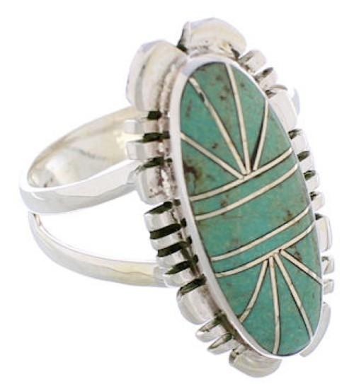 Southwest Sterling Silver Turquoise Jewelry Ring Size 7-3/4 TX28532