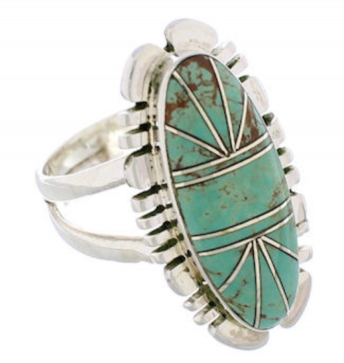 Sterling Silver Turquoise Inlay Jewelry Ring Size 5-1/4 TX28536