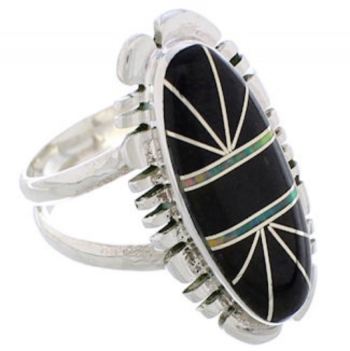 Southwest Sterling Silver Jet And Opal Inlay Ring Size 5-3/4 TX28661