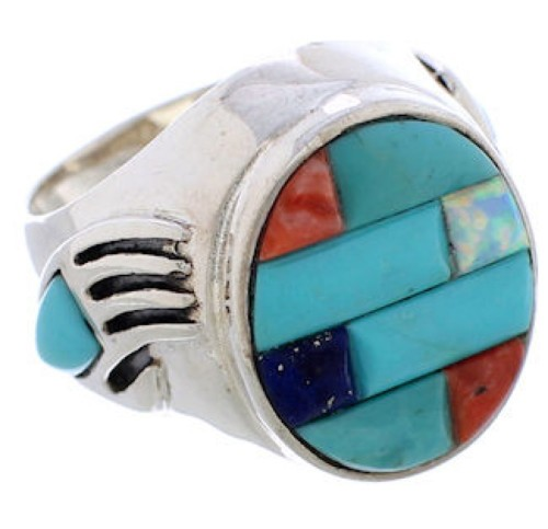 Multicolor Inlay Bear Paw Genuine Sterling Silver Ring Size 9-3/4 EX50811