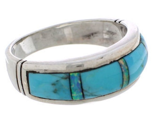 Genuine Sterling Silver Turquoise And Opal Ring Size 7-3/4 EX50832
