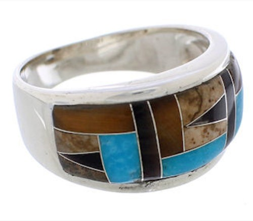 Sterling Silver Multicolor Southwest Ring Size 6-3/4 EX50841