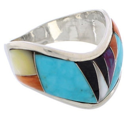 Multicolor Southwest Sterling Silver Ring Size 8-1/2 EX50848