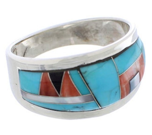 Multicolor Sterling Silver Southwest Ring Size 8-1/4 EX50868
