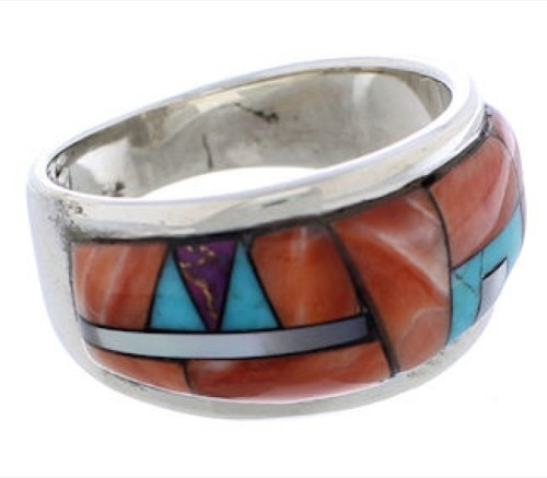 Southwestern Multicolor Sterling Silver Ring Size 6-1/4 EX50892