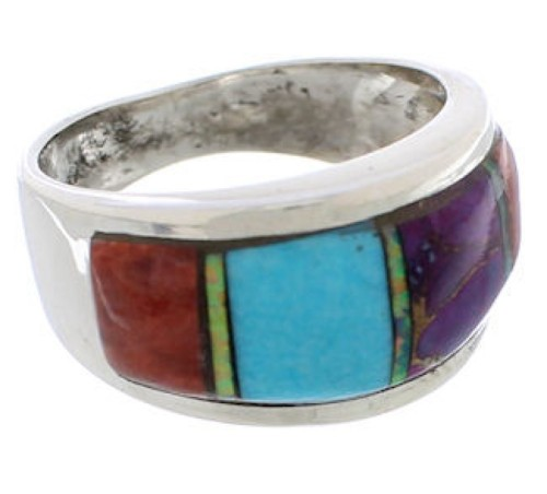 Genuine Sterling Silver And Multicolor Inlay Ring Size 6-3/4 EX50898