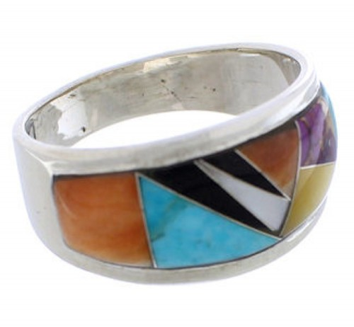 Multicolor Inlay Southwest Silver Ring Size 8-1/4 EX50955