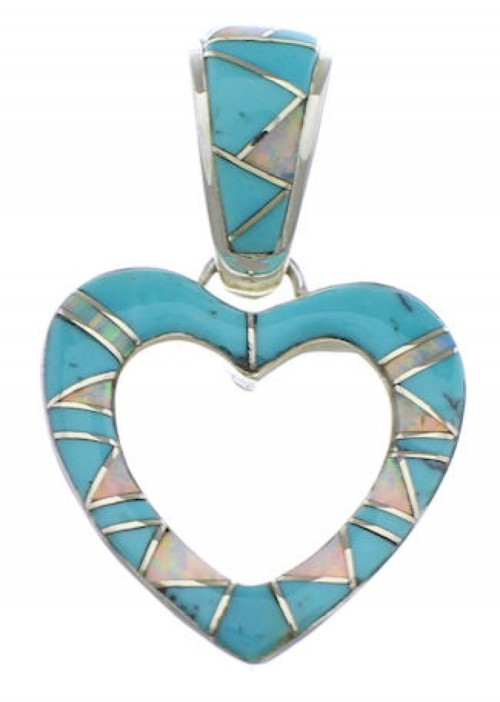 Southwest Heart Turquoise Opal Silver Pendant PX28779