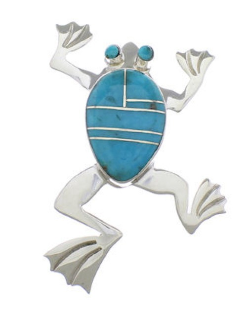 Sterling Silver And Turquoise Frog Jewelry Pendant PX28837