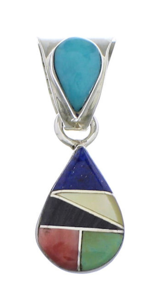 Multicolor And Genuine Sterling Silver Tear Drop Pendant PX28861