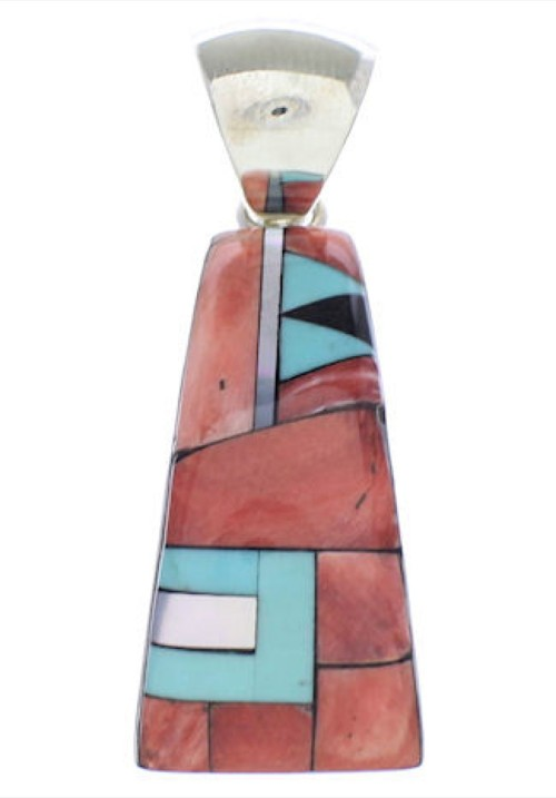 Southwest Sterling Silver And Multicolor Slide Pendant EX30633