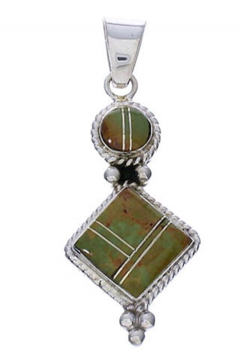 Genuine Sterling Silver Turquoise Inlay Slide Pendant TX28833