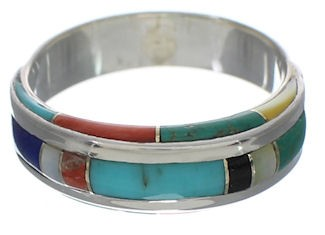 Multicolor Genuine Sterling Silver Ring Size 5-3/4 EX41676