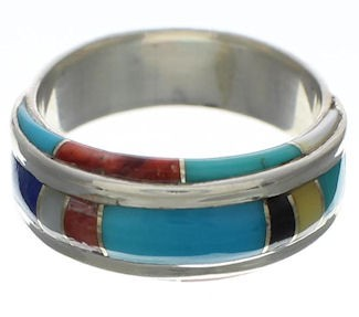 Sterling Silver Multicolor Inlay Ring Size 4-3/4 EX41687