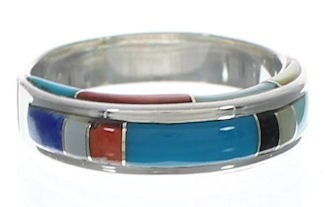 Sterling Silver Multicolor Inlay Ring Size 6-1/4 EX41706
