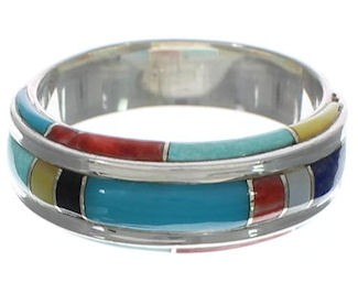 Sterling Silver And Multicolor Inlay Ring Size 7-3/4 EX41730