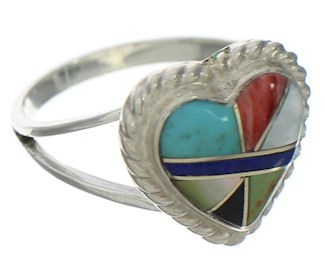 Multicolor And Silver Heart Ring Size 7-1/4 EX41960