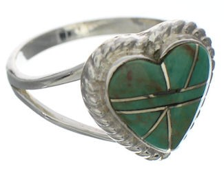 Southwest Turquoise Inlay Heart Ring Size 7-1/2 EX42046