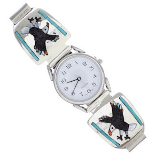 Turquoise Multicolor Inlay Eagle Sterling Silver Watch Jewelry EX23907