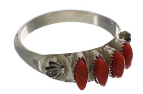 Sterling Silver And Coral Zuni Indian Needlepoint Ring Size 8 WX71371