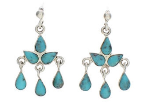 Southwestern Turquoise And Silver Earrings PX24559
