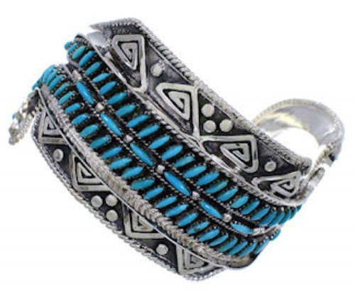 Sterling Silver Water Wave Turquoise Cuff Bracelet FX27967