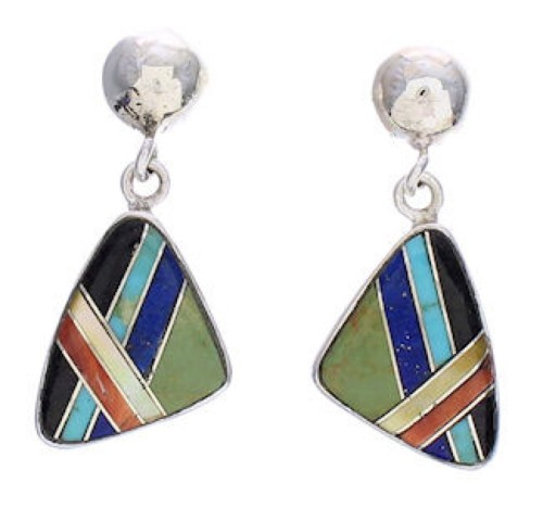 Multicolor Inlay Silver Southwest Post Dangle Earrings PX32545