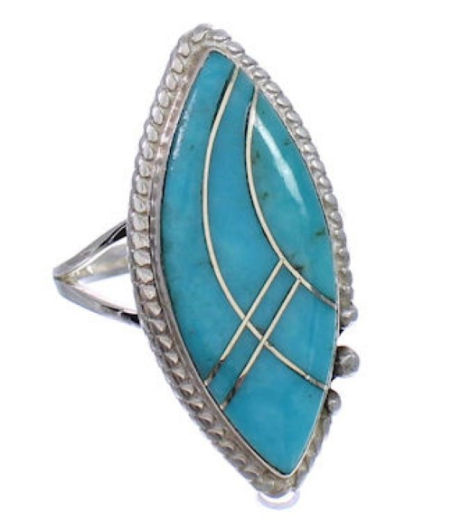 Turquoise Inlay Sterling Silver Ring Size 7-3/4 FX93593
