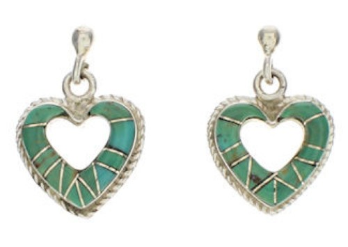 Heart Sterling Silver Turquoise Post Dangle Earrings PX24257