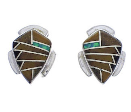 Southwest Multicolor Inlay And Silver Earrings EX31772