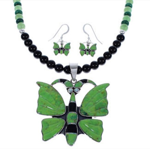 Silver Jewelry Multicolor Butterfly Pendant Necklace Set PX34908