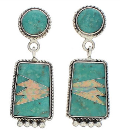 Southwest Turquoise And Opal Inlay Silver Earrings EX32470