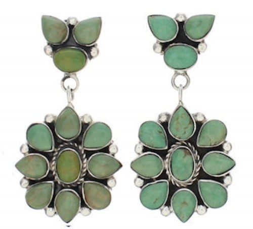 Southwestern Turquoise Sterling Silver Earrings EX32538