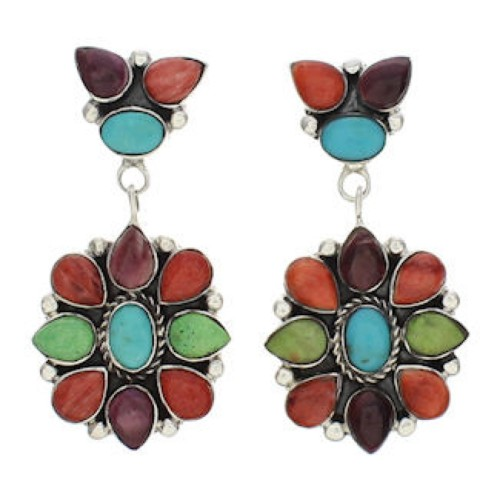 Multicolor Southwestern Sterling Silver Earrings EX32540