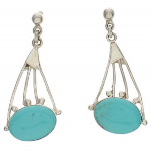 Southwest Jewelry Turquoise And Silver Earrings EX32169