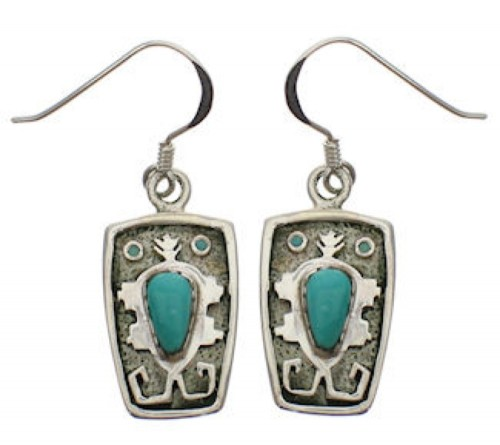 Turquoise And Genuine Sterling Silver Earrings EX32222