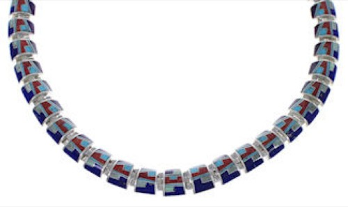 Sterling Silver And Multicolor Link Necklace Jewelry PX37201
