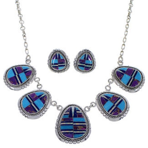 Sterling Silver Multicolor Southwest Jewelry Link Necklace Set PX36939