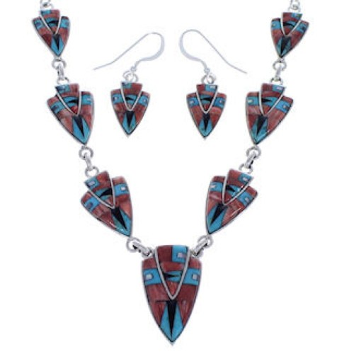 Sterling Silver Multicolor Inlay Link Necklace Earrings Set PX36957
