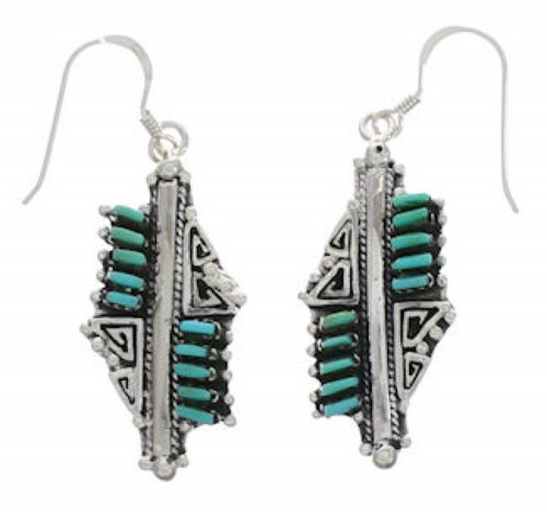 Southwest Turquoise Needlepoint Water Wave Hook Earrings EX24768
