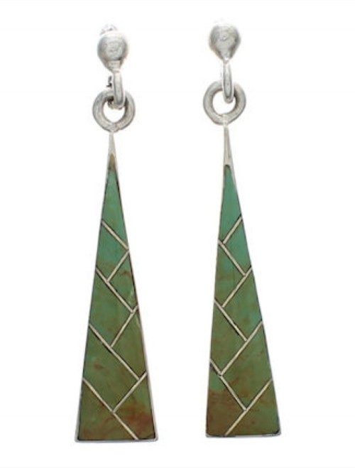 Sterling Silver Turquoise Inlay Earrings Jewelry EX24791