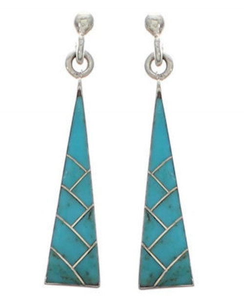 Turquoise Inlay Sterling Silver Post Dangle Earrings Jewelry EX24794
