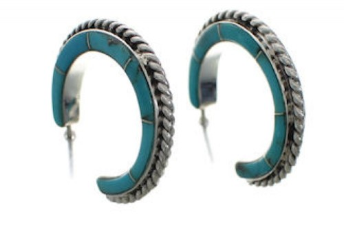 Turquoise Genuine Sterling Silver Jewelry Post Hoop Earrings EX24825