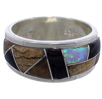 Multicolor Inlay Whiterock Rocky Trails Ring Size 6-3/4 EX43787