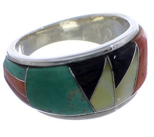 Sterling Silver WhiteRock Multicolor Inlay Ring Size 7-1/2 TX43721