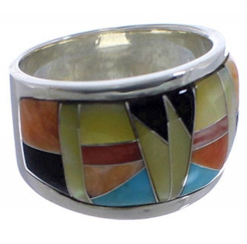 Sunset WhiteRock Sterling Silver Multicolor Ring Size 5-1/2 TX43727