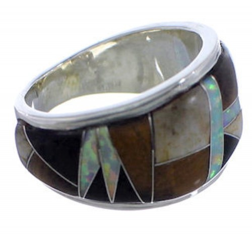 WhiteRock Multicolor Inlay Sterling Silver Ring Size 5-3/4 TX43890