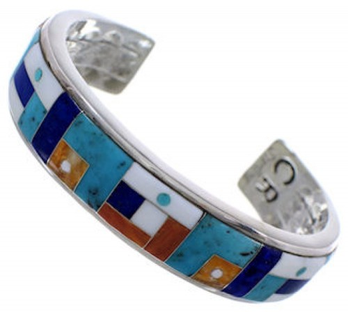 Multicolor Inlay Sterling Silver Jewelry Cuff Bracelet MX28100