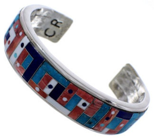 Multicolor Inlay Jewelry Sterling Silver Cuff Bracelet MX28103